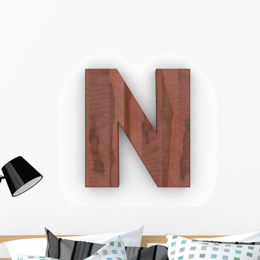 Wood Letter N Wall Decal