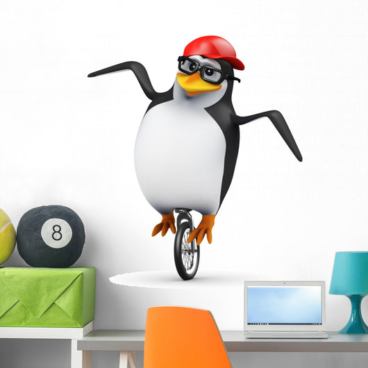 3D Penguin Baseball Cap Wall Decal