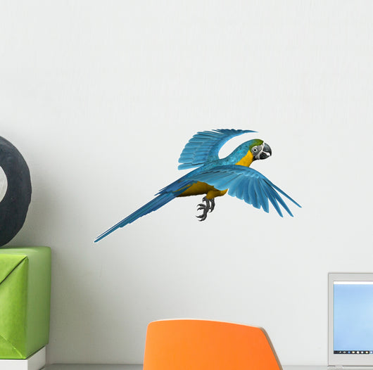 Blue and Gold Macaw Flying Wall Decal