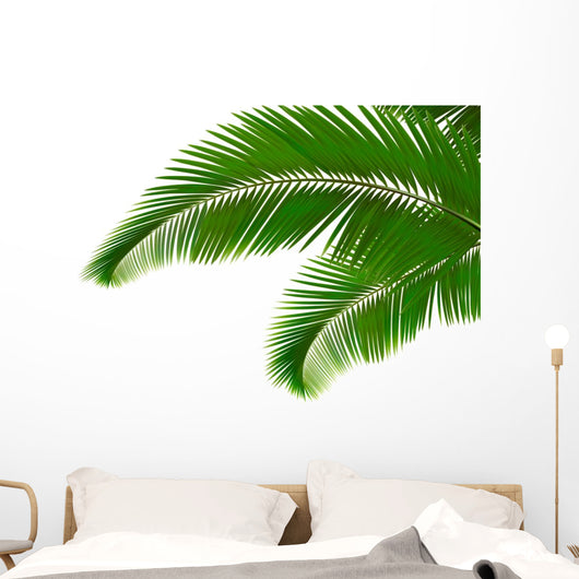 Palm leaves on white background. Vector. Wall Decal