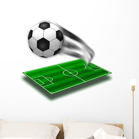 The Green Soccer Field with Lines and Sovver Ball Wall Decal