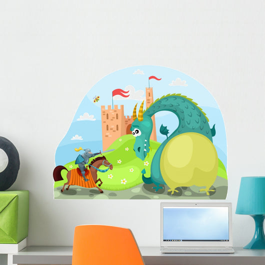 Dragon and Knight Wall Decal