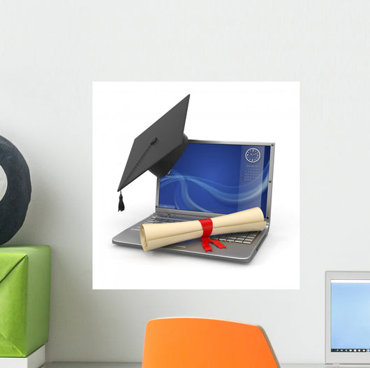 E-learning Graduation Laptop Diploma Wall Decal