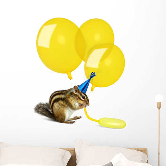 Funny Chipmunk Inflating Yellow Balloons Wall Decal