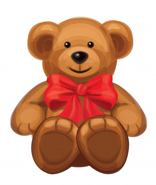 Vector of Cute Brown Bear with Red Bow. Wall Decal