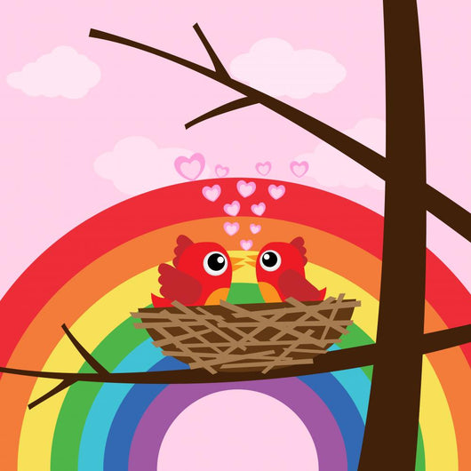 Birds Love with Rainbow