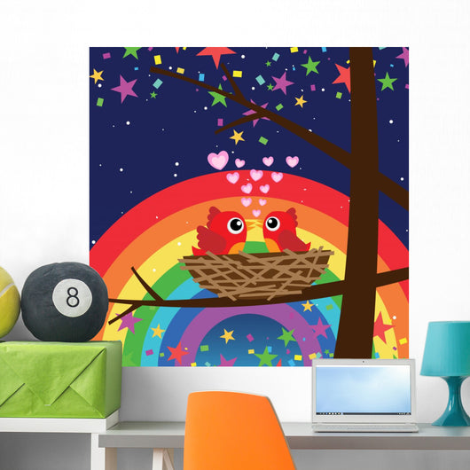 Birds in Love With Rainbow at Night Wall Mural