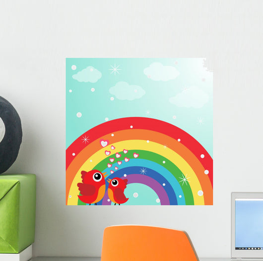 Love Bird With Hearts and Rainbow Wall Mural
