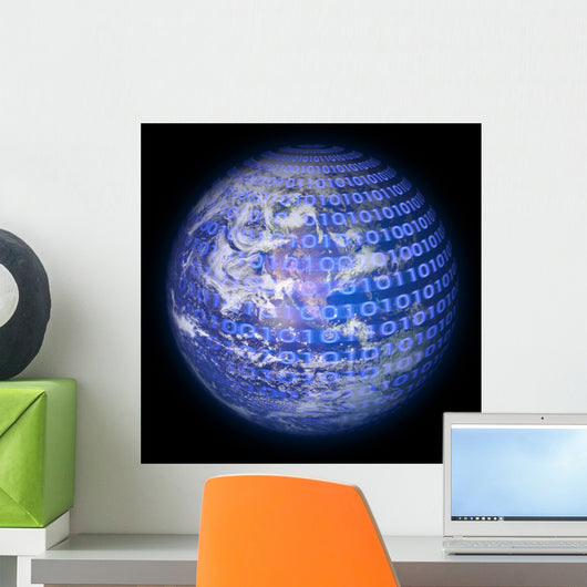 Binary Code Planet Earth Wall Mural