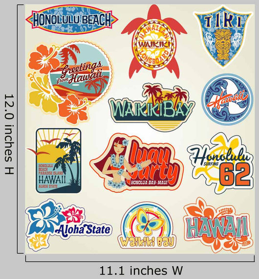 Hawaii Stickers collection Wall Decal