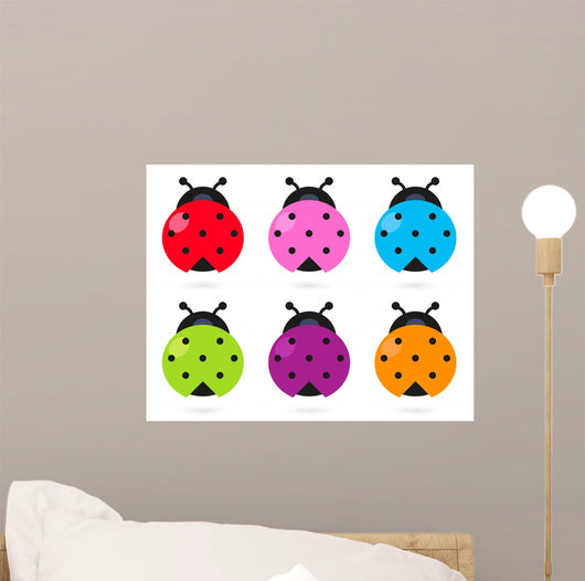 Cute Colorful Ladybug Set Wall Stickers