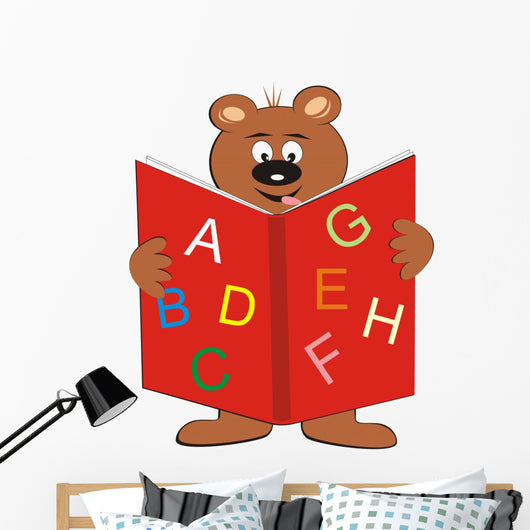 Bear and Book Wall Decal