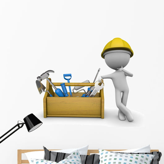 Construction Carpentry Worker Wall Decal