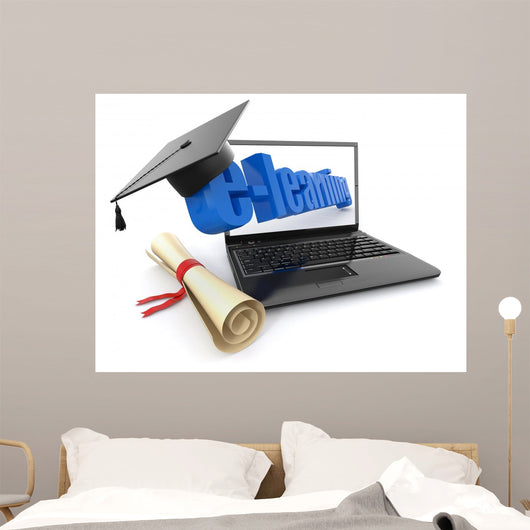 E-learning Laptop Diploma Wall Decal