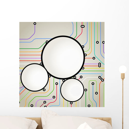Color Metro Lines With Text Frame Wall Mural