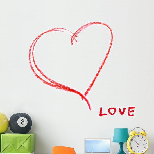 red crayon heart contour and the word LOVE Wall Mural