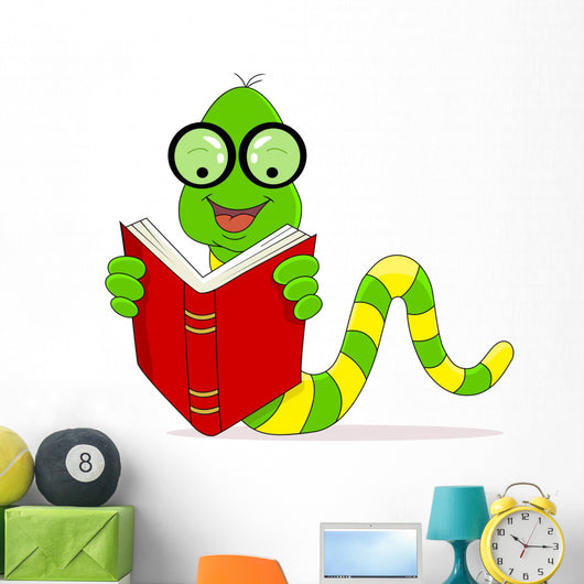 A Happy Worm Reading Book Wall Decal