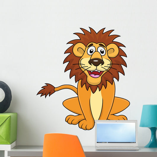 Funny lion cartoon sitting Wall Decal