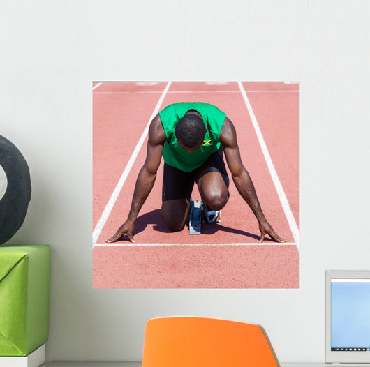 Male Track and Field Athlete before the Race Start Wall Mural