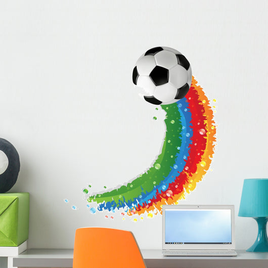 Rainbow Soccer ball Wall Decal