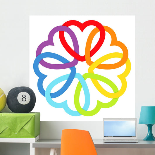 Rainbow connected hearts Wall Decal