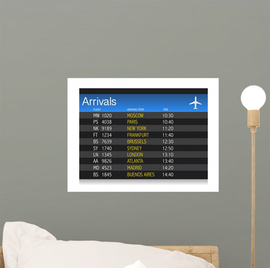 Airport arrival timetable illustration design Wall Mural
