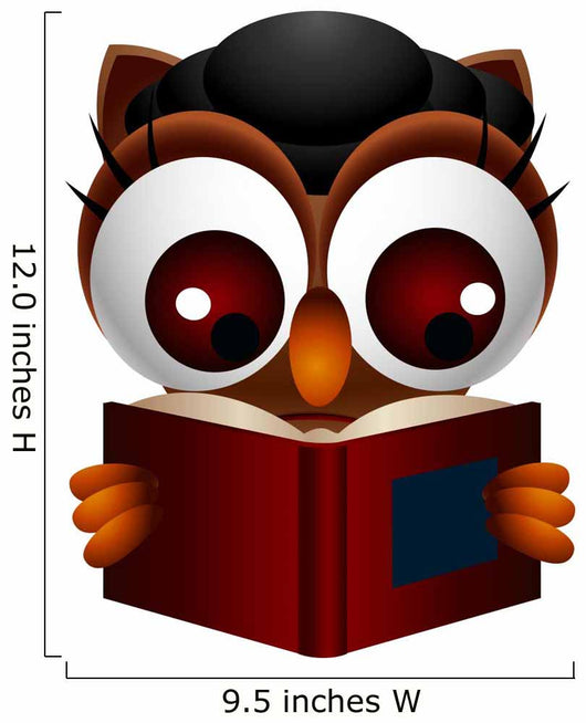 Cute Owl Reading Book Wall Decal
