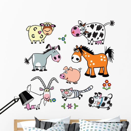 Barnyard Farm Animals Wall Decal Sticker Set
