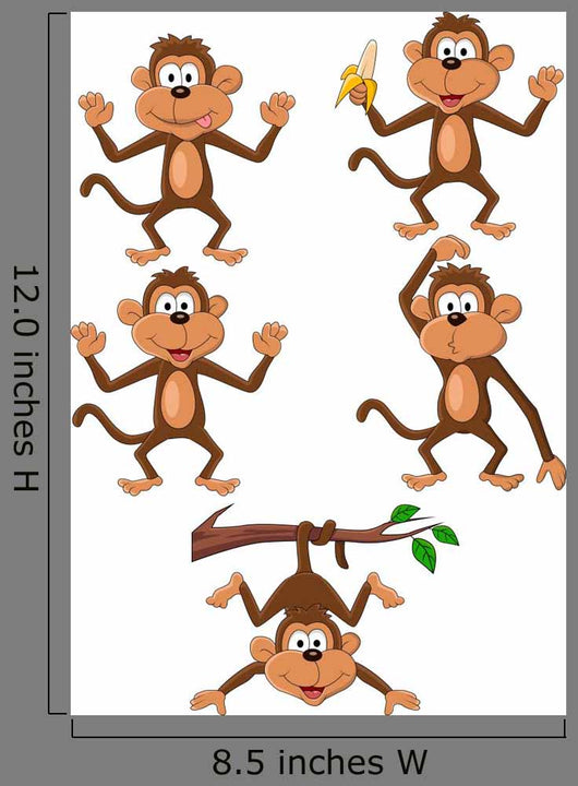 Five Monkeys Monkey Wall Stickers