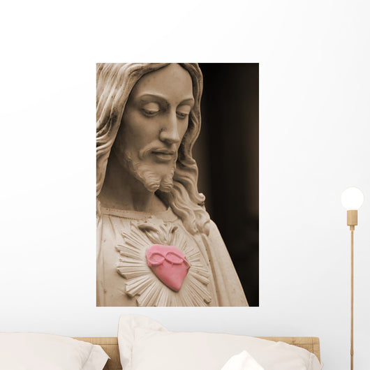 Jesus with a red heart selective color Wall Mural