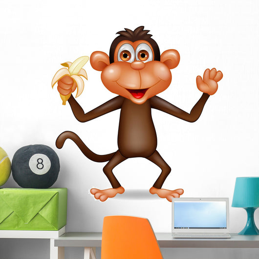 Monkey eating banana Wall Decal