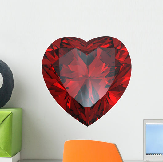 Heart Shaped Diamond Garnet Wall Decal