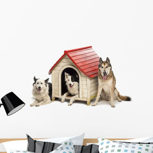 Group Dogs Surrounding Kennel Wall Decal