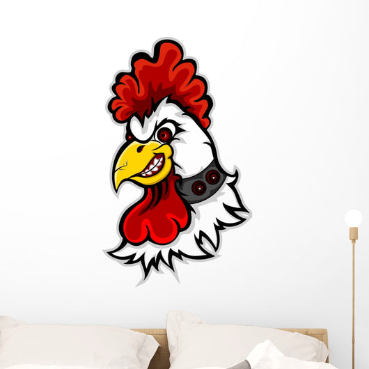 Angry Rooster Head Wall Decal