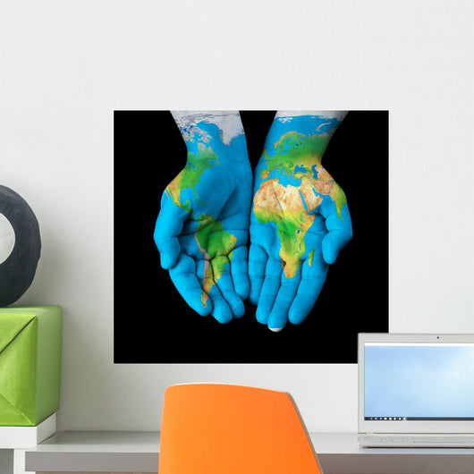 Map Painted Hands Showing