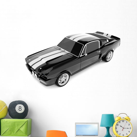 Black Classical Sports Car Wall Decal