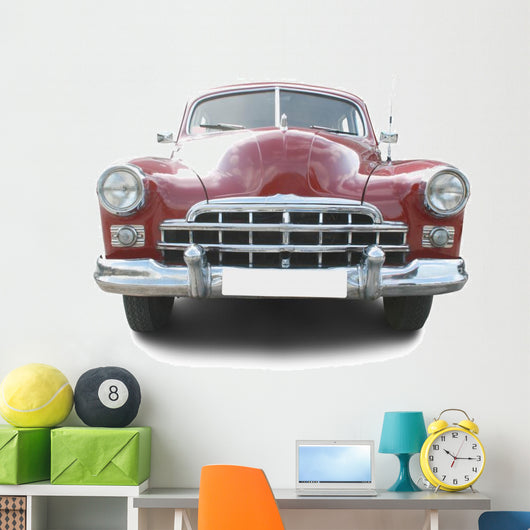 Red retro automobile Wall Decal