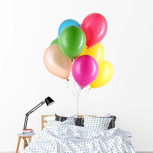 Colorful Balloons White Wall Decal