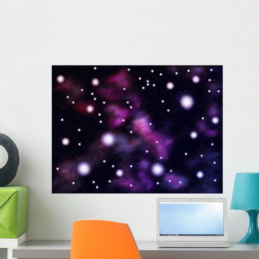 Colorful Space Clouds Wall Mural