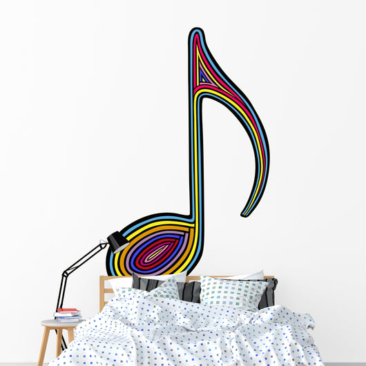 Rainbow Music Note Wall Decal