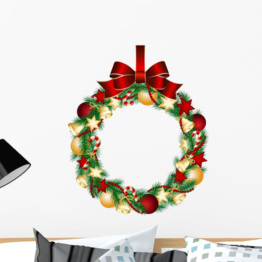 Christmas Wreath Decoration Wall Decal