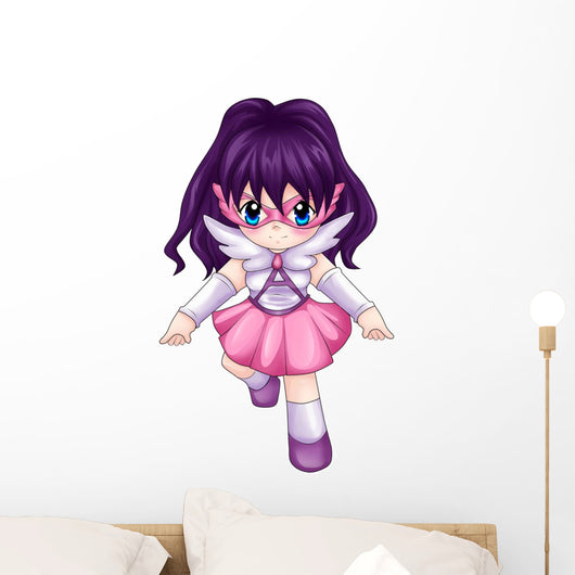Chibi Style Illustration of a Super-heroine Wall Decal