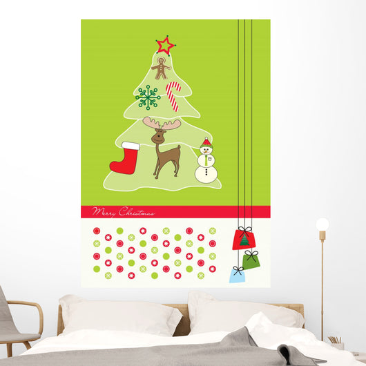 Christmas three background with moose and gingerbread man Wall Mural