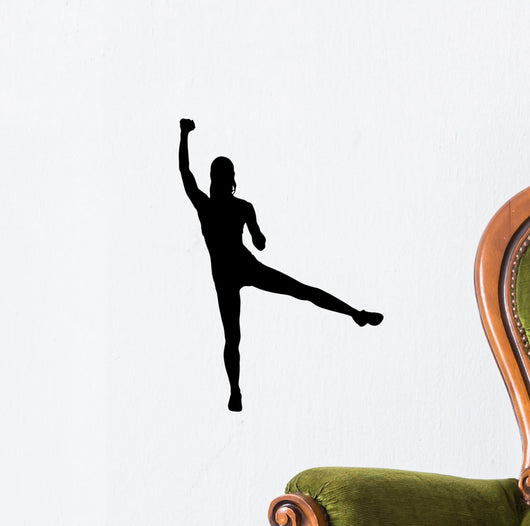 Silhouette Attractive Woman Lifting Wall Decal