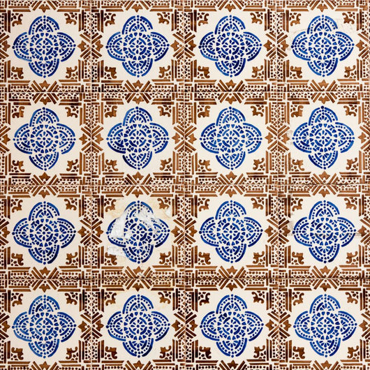 Azulejo with Brown Squares Wall Mural