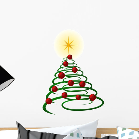 abstract green christmas tree Wall Decal