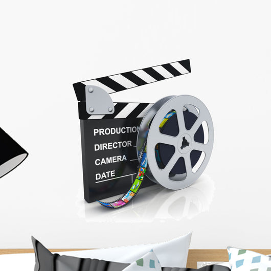Clapper board and reel with filmstrip Wall Decal
