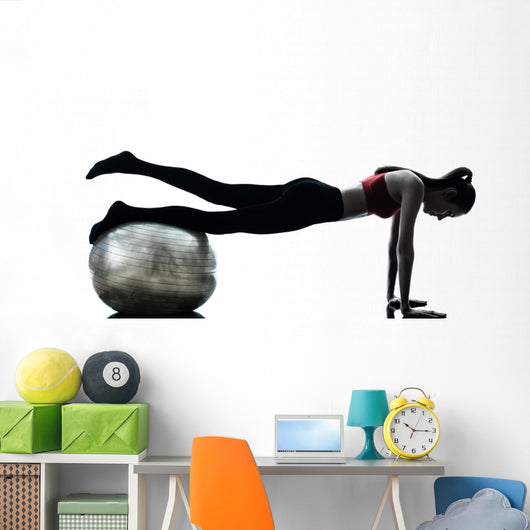 Woman Exercising Fitness Ball