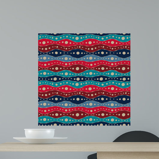 Seamless Pattern With Waves and Dots Wall Mural
