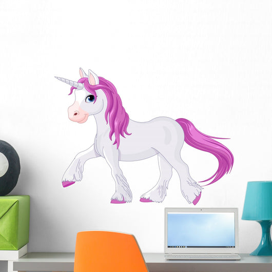 Pink Haired Unicorn Wall Decal